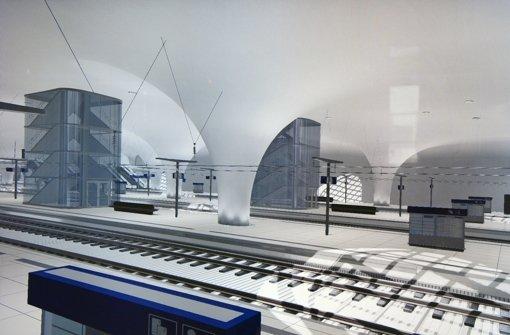 Ausschnitte aus einem Info-Film der Bahn: In der Halle des Tiefbahnhofs wird es durch neue Fluchttreppenhäuser Engstellen geben. Foto: ks