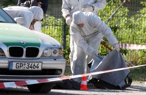 Tatort Heilbronn: Spurensicherung nach dem Mord an Polizistin Kiesewetter. Foto: dpa