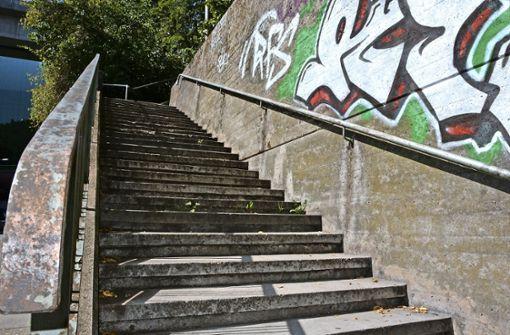 Die Treppenstufen am Eisenbahnviadukt in Münster sind seit vielen Jahren sanierungsbedürftig. Das Geländer soll bis Ende 2018 erneuert werden. Foto: Janey Schumacher
