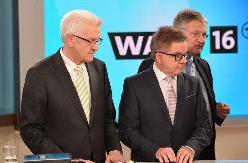 Winfried Kretschmann (Grüne), Guido Wolf (CDU) und Jörg Meuthen (AfD) kommentieren die Ergebnisse der Landtagswahl. Foto: dpa