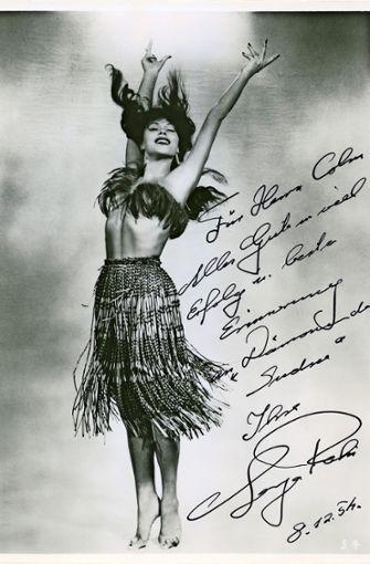 Widmung der Tänzerin  und Schauspielerin Laya Raki für den Kinobesitzer Colm im Jahr 1954. Foto: Privatarchiv Colm