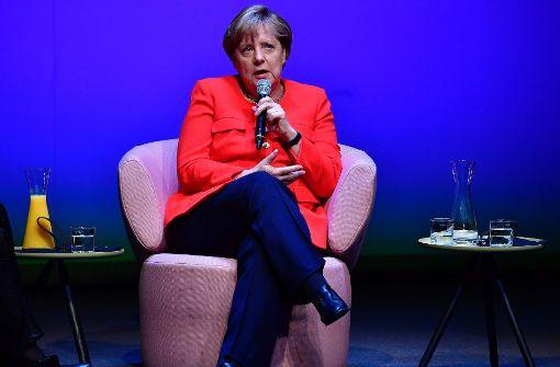 """Angela Merkel beim """"Brigitte""""-Talk in Berlin Foto: AFP"""