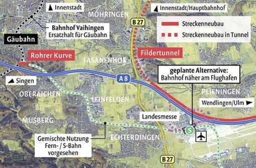 Die neue Lösung am Flughafen mit dem Fernbahnhof soll von der sonstigen S-21-Streckenplanung abgekoppelt werden. Foto: Stadtmessungsamt Stuttgart/StN-Bearbeitung: Lange/Quelle: Deutsche Bahn AG