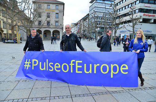 """Zum vierten Mal hat an einem Sonntagnachmittag die Demo """"Puls of Europe"""" in Stuttgart stattgefunden. Foto: 7aktuell"""