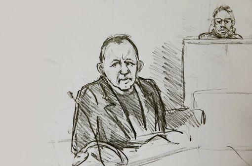 Eine Gerichtszeichnung zeigt den Angeklagten Peter Madsen (Mitte) während der Verhandlung  im Gerichtssaal in der dänischen Hauptstadt Kopenhagen Foto: AFP