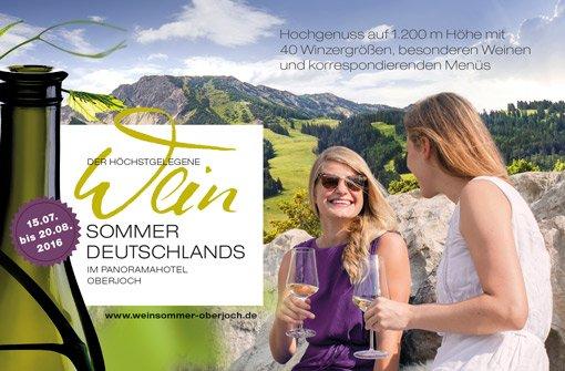 Unbeschwerter Weingenuss beim höchstgelegenen Weinsommer im Panoramahotel Oberjoch. Foto: Panoramahotel Oberjoch