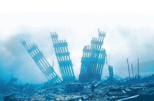 9/11: Reste der Fassade des World Trade Centers in New York im November 2001. Foto: dpa
