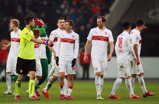 Enttäuschte VfB-Gesichter nach der 0:2-Heimniederlage gegen die Bayern. Foto: Getty