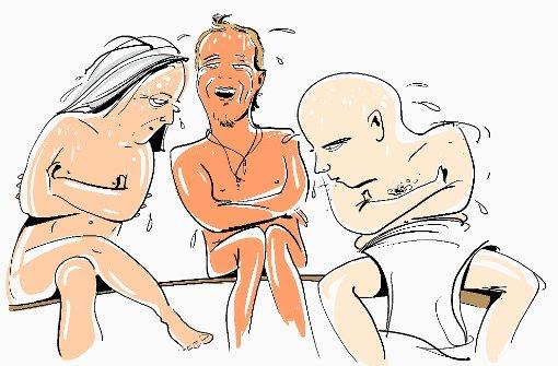pstrongSchwitzen gegen den Muskelkater /strongbr / Was beugt beim Skifahren gegen Wadenzwicken und Schulterschmerzen vor oder lindert bereits bestehende Beschwerden? Richtig: Bewegung - und Wärme, um die verkrampften Muskeln zu lockern. Sportliche Pistencracks, die tagsüber vorzugsweise schwarze Abfahrten hinunterdonnern, wissen das. Und drehen abends erst einmal zur Lockerung ein paar Runden im Hotelhallenbad. Hocken dann ewig in der Sauna, mindestens drei bis vier Durchgänge, je heißer, je besser: Der Schweiß soll schließlich richtig fließen. Wer diese Hardcore-Wellnessfanatiker einmal miterlebt hat, weiß, dass viele Spezies dieser Art erst bei 95 Grad Saunatemperatur so richtig aufblühen. Und dabei sehr gesprächig werden. Dabei ist kein Thema zu privat - aber in der Sauna gibt es für die anderen Gäste kaum ein Entrinnen. Ist ein bisschen anstrengend mit solchen Leuten./p Foto: Michael Luz
