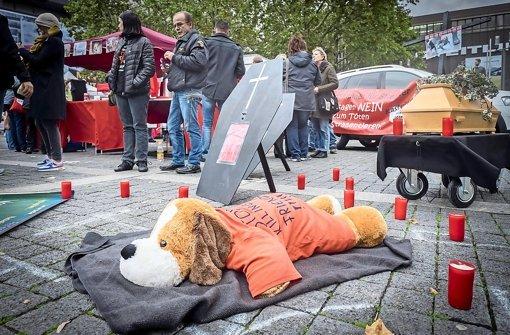 Peta-Protest auf dem Stuttgarter Marktplatz Foto: Lichtgut/Achim Zweygarth