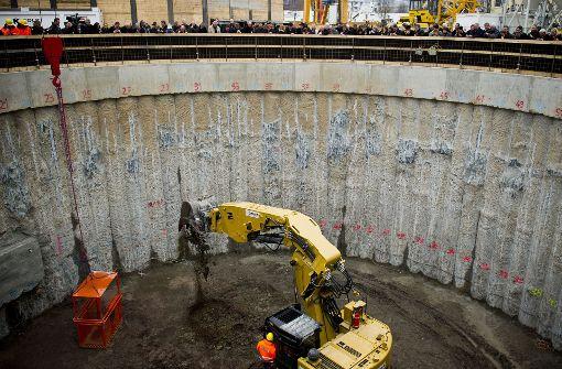 Bei der ersten Tunneltaufe hoffte die Bahn noch, den S-21-Tunnelbau problemlos über die Bühne zu bringen. Foto: Max Kovalenko