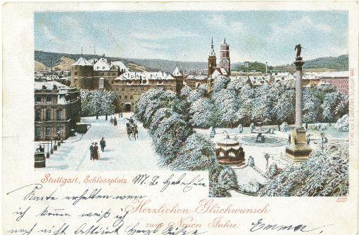 Neujahresgrüße vom Schlossplatz: Karte vor 1905. Foto: Sammlung Wolfgang Müller