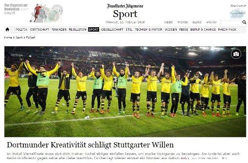 Dortmunder Kreativität schlägt Stuttgarter Willen, titelt die Online-Ausgabe der FAZ zum Dortmunder Pokalsieg in Stuttgart am Dienstagabend. Weitere Pressestimmen zeigt die Bilderstrecke. Foto: red / Screenshot