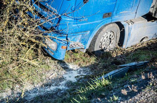 Der Lkw kam nach rechts von der Straße ab, rutschte eine Böschung hinunter und prallte dort gegen einen Baum. Foto: SDMG