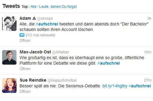 Unter dem Hashtag #aufschrei posten vor allem junge Frauen ihre Erfahrungen mit Sexismus. Foto: Twitter/Screenshot