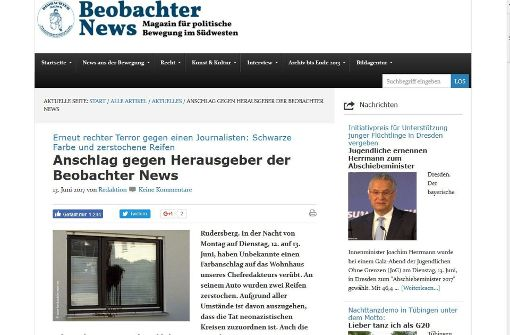 Denzingers Online-Portal berichtet über den Vorfall. Foto: Screenshot Beobachter News