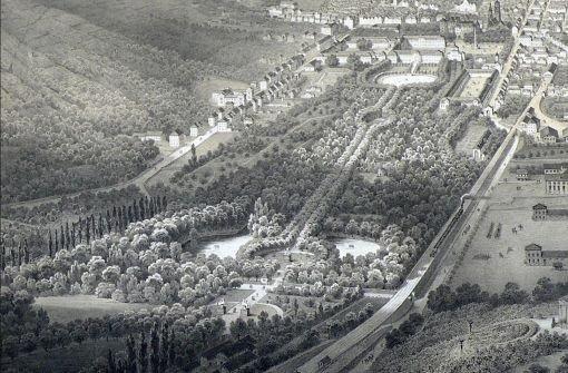 b1852:/b Ansicht der Residenzstadt Stuttgart mit der ersten Bahnlinie  Foto: Städtisches Museum Ludwigsburg