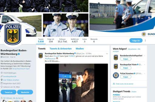 Die Bundespolizei begleitete die VfB-Partie gegen Hertha BSC mit lustigen Tweets. Foto: Twitter/@bpol_bw