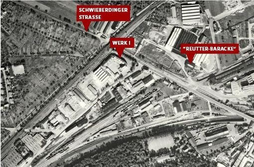 Der Bereich des Porsche-Werks 1955 Foto: Stadtmessungsamt Stuttgart