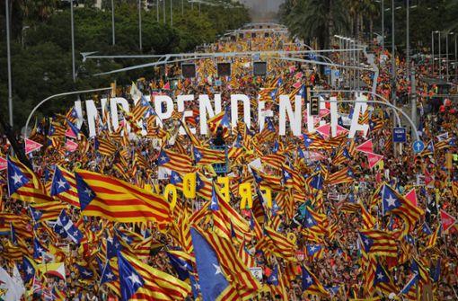 Am Nationalfeiertag Kataloniens forderten Hunderttausende die Unabhängigkeit ihrer Region. Foto: AP