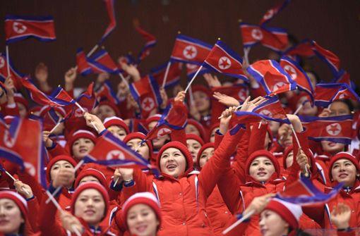 Bei den Eishockey-Spielen der koreanischen Mannnschaft... Foto: AFP