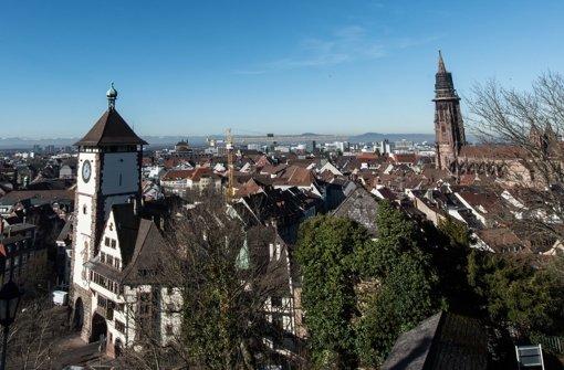 Die Übersichtsaufnahme zeigt die Stadt Freiburg  vor den Vogesen – inks ist das Schwabentor und rechts das Freiburger Münster zu sehen. Um die eingeschränkten Zutritte für Flüchtlinge in der Freiburger Clubszene ist eine Debatte über die Grenzen von Baden-Württemberg hinaus entbrannt. Foto: dpa