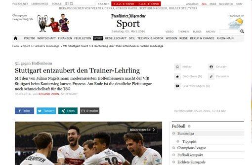 Bei bFaz/b heißt es: Mit den von Julian Nagelsmann modernisierten Hoffenheimern macht der VfB Stuttgart beim Kantersieg kurzen Prozess. Am Ende ist die deutliche Pleite sogar noch schmeichelhaft für die TSG. Foto: Screenshot