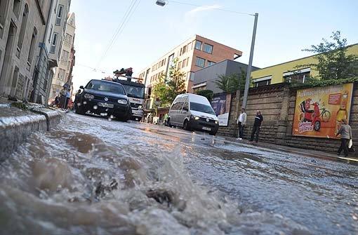 Wasserrohrbruch im Stuttgarter Westen