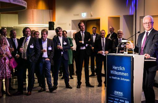 Dr. Richard Rebmann, Geschäftsführer der Südwestdeutschen Medienholding, begrüßte die Gäste.  Foto: Lichtgut/Achim Zweygarth