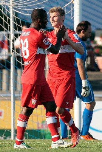 Der erste Treffer für die Profis: Timo werner freut sich beim Testspiel gegen den türkischen Erstligisten Belediyespor am vergangenen Samstag in Friedrichshafen. Foto: Pressefoto Baumann