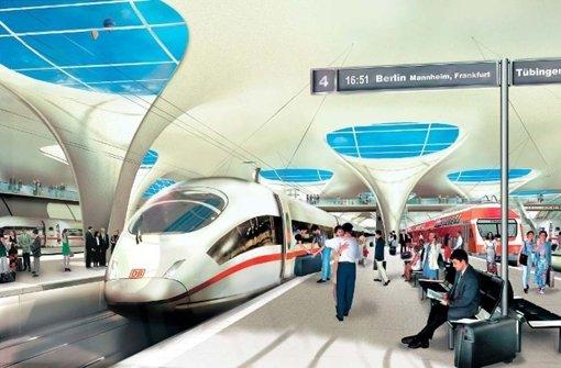 Das Handout der Bahn zeigt ein Computerbild des Bahnprojektes Stuttgart 21. Um die Mehrkosten  in Milliardenhöhe für den Weiterbau gibt es Streit zwischen dem Land und der Bahn AG. Foto: DB AG