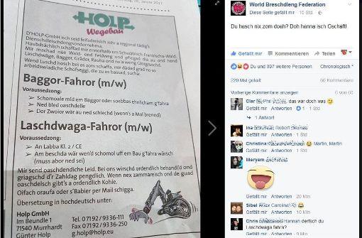 Diese schwäbische Anzeige macht gerade eine Firma aus Murrhardt bekannt. Foto: Screenshot Facebook/World Breschdleng Federation