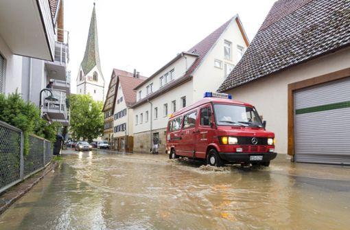 Überflutungen im Kreis Esslingen
