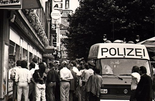 """Public Viewing"" bei der EM 1988 in Stuttgart"