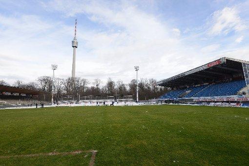 Der Rasen unter dem Fernsehturm ist derzeit nicht in der besten Form: Die Partie des VfB II gegen Unterhaching am Freitag muss daher ausfallen. (Archivfoto) Foto: www.7aktuell.de/Oskar Eyb