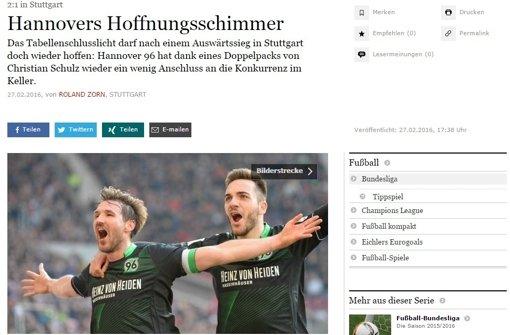 """... gibt sich die """"Frankfurter Allgemeine Zeitung"""". Sie erkennt in Hannovers Sieg lediglich a href=http://www.faz.net/aktuell/sport/fussball/bundesliga/schlusslicht-hannover-darf-nach-sieg-in-stuttgart-hoffen-14089313.html target=_blankeinen Hoffnungsschimmer/a. Ein schönes Wort ... Foto: Screenshot"""
