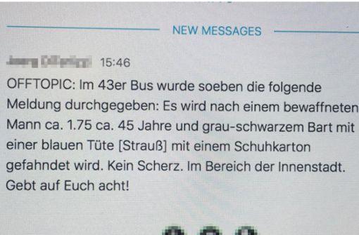 WhatsApp-Nachricht warnt vor bewaffnetem Mann in Stuttgart