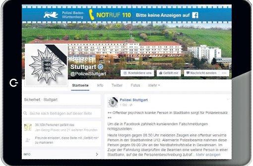 Die Stuttgarter Polizei ist bereits seit dem Jahr 2012  auf Facebook und Twitter präsent. Foto: fotoliaScreenshot: StZMontage: Miller