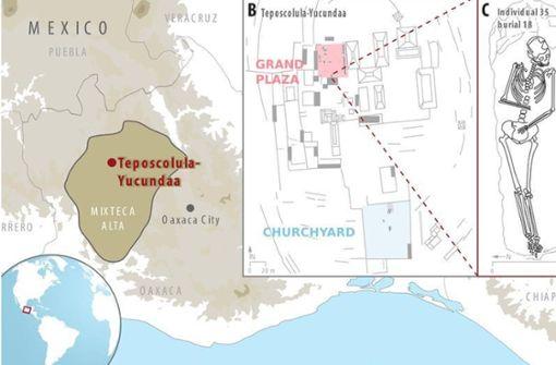 Übersichtskarte von Teposcolula-Yucundaa. Die Karte zeigt die Lage der Siedlung in der Mixteken-Region von Oaxaca (A) und die Lage der Ausgrabungsstätte (B). Teilbild C ist eine zeichnerische Darstellung des  eines Individuums Nr. 35, aus dessen Probe ein Salmonella enterica Genom rekonstruiert werden konnte. Foto: Åshild J. Vågene et al./MPI/Nature Ecology and Evolution 2018