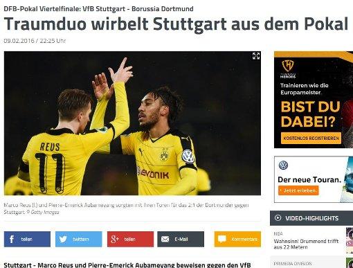 ... sport1 das Dortmunder Traumduo Marco Reus und Pierre-Emerick Aubameyang bejubelt. Foto: red / Screenshot