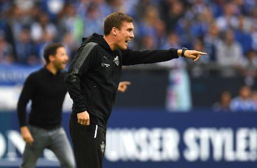 """""""Zu Beginn der Partie sind wir dem frühen Rückstand hinterhergelaufen"""", sagt VfB-Trainer Hannes Wolf nach dem Spiel. Foto: AFP"""