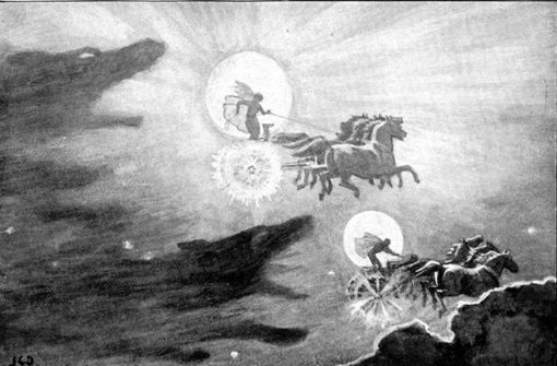 """Nordische Mythologie: Hati und Skalli sind Zwillingsbrüder. Die beiden riesigen Wölfe stammen von Fenrir (dem Fenriswolf) und der Riesin Gyge (der """"Alten vom Eisenwald"""") ab. Hati verfolgt den Mondgott Mani, während Skalli die Sonnengöttin Sól nachstellt. Foto: Wikipedia commons/John Charles Dollman"""
