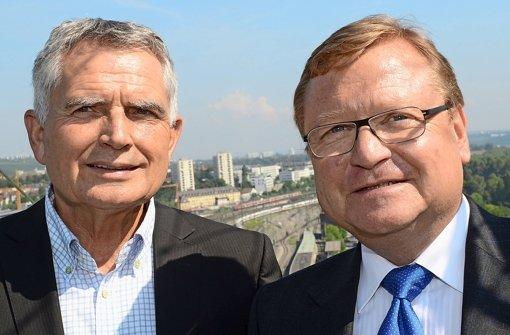 Streiten für S 21: Projektsprecher Wolfgang Dietrich (li.), Projektchef Manfred Leger Foto: dpa