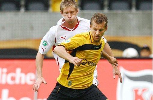 Gerrit Müller (vorne) war einmal für Dynamo Dresden am Ball. Foto: Pressefoto Baumann