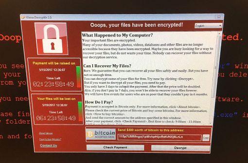 Solche Anzeigen weisen auf den Cyber-Angriff hin. Foto: AP