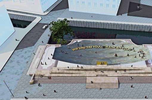 Die Computergrafik zeigt den Entwurf von Sasha Waltz und der Stuttgarter Szenografen Milla & Partner für das Einheitsdenkmal. Foto: dpa