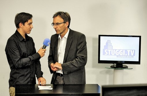 Im Interview: Moderator Sebastian Braun (links) mit Bürgermeister Wölfle. Foto: Leif Piechowski