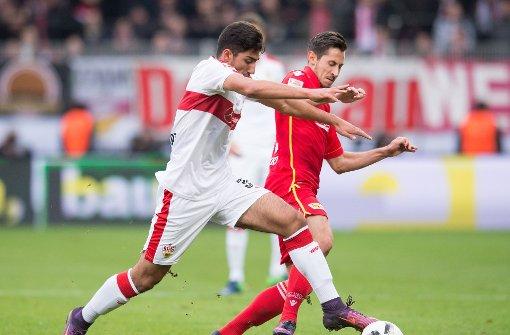 Berkay Özcan vom VfB Stuttgart tut sich in der Partie bei Union Berlin zumeist schwer. Foto: Pressefoto Baumann
