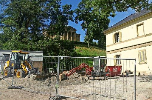 Unterhalb der Grabkapelle entsteht das neue Besucherzentrum. Foto: Caroline Friedmann