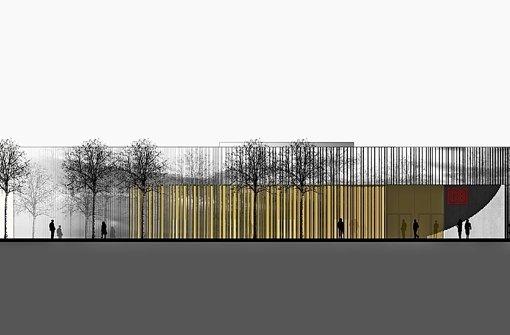 So soll das Eingangsgebäude des neuen Flughafenbahnhofs aussehen Foto: DB AG